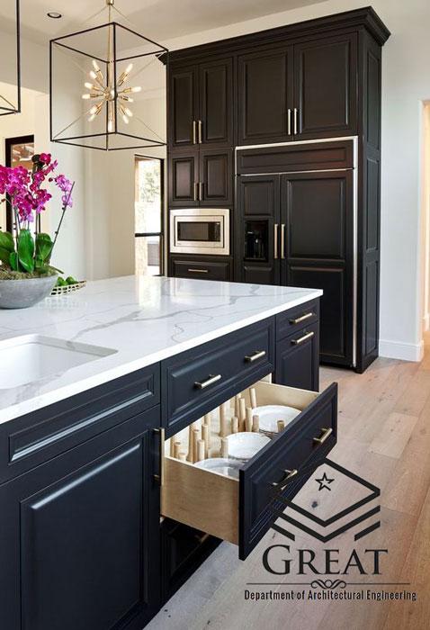 طراحی دکوراسیون داخلی آشپزخانه با استفاده از سنگ مرمر