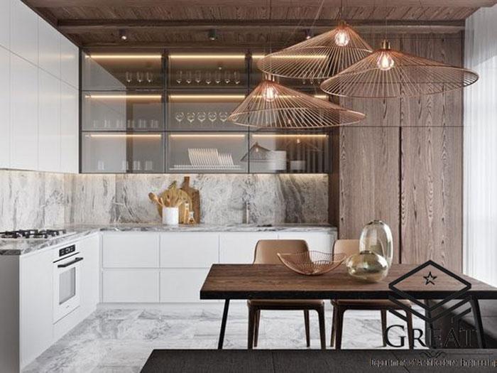 طراحی کابینت مدرن و کلاسیک آشپزخانه ها با استفاده از کابینت های شیشه ای