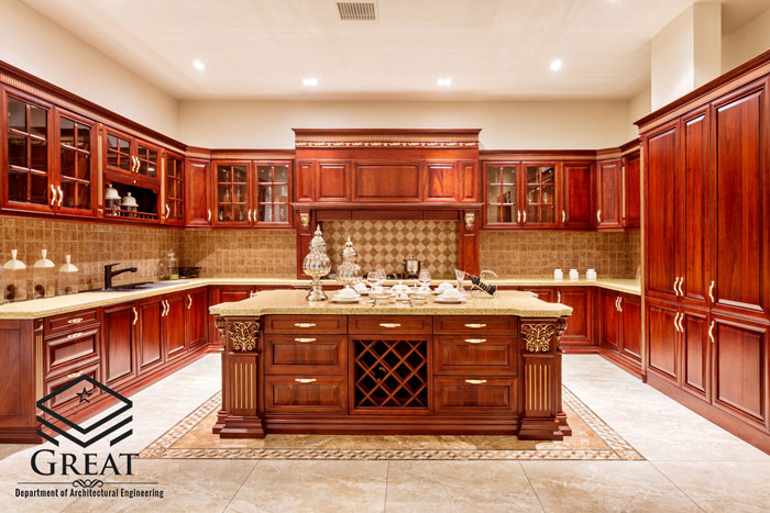 کابینت آشپزخانه روکش چوب تصویر هشت