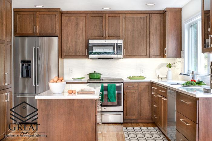 کابینت آشپزخانه روکش چوب تصویر ده