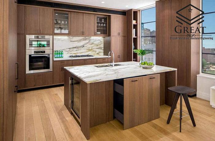 کابینت آشپزخانه روکش چوب تصویر یک