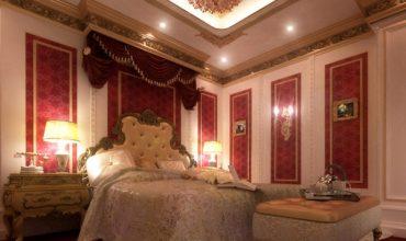 تخت کلاسیک در دکوراسیون قرمز