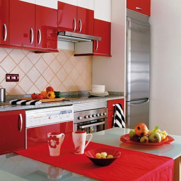 دکوراسیون آشپزخانه رنگ قرمز