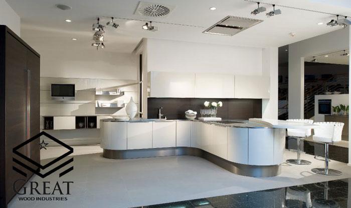 کابینت منحنی در دکوراسیون آشپزخانه - تصویر دو