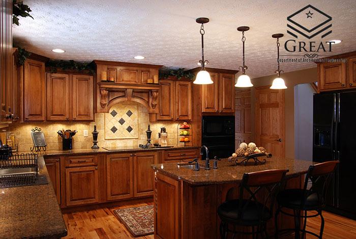 کابینت آشپزخانه تمام چوب کلاسیک