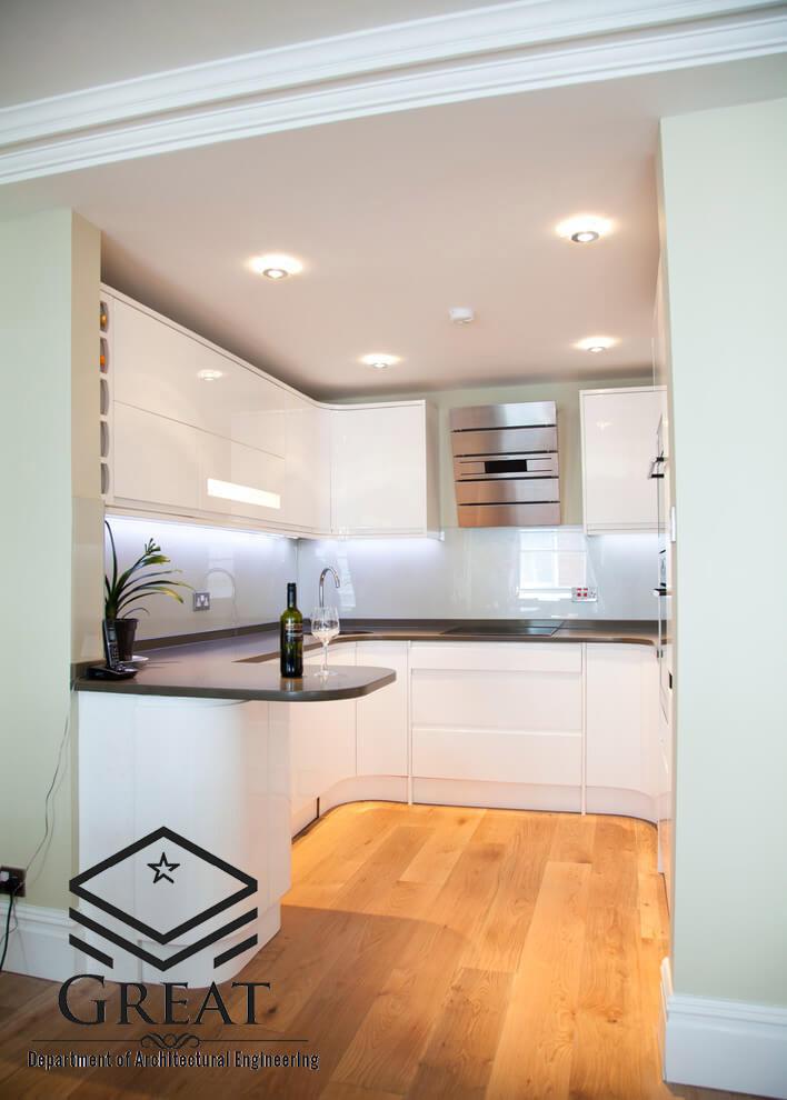 کابینت سفید برای آشپزخانه های کوچک تصویر اول