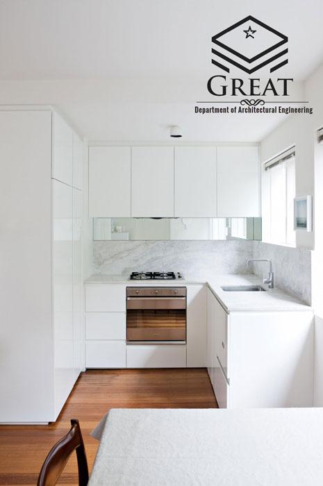 کابینت سفید در طراحی آشپزخانه - تصویر یک