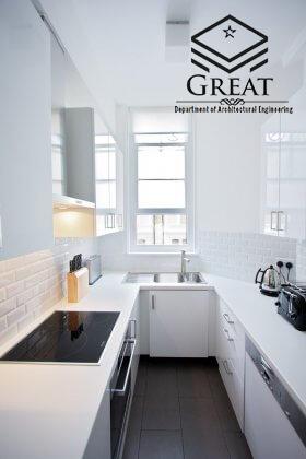 کابینت سفید برای آشپزخانه های کوچک تصویر سوم