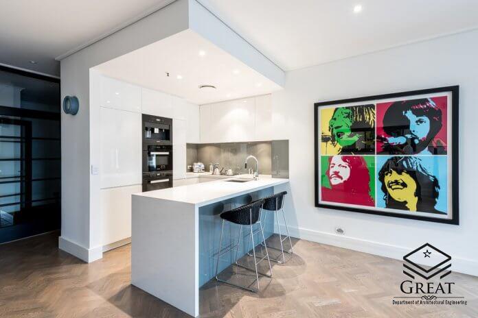 کابینت سفید برای آشپزخانه های کوچک تصویر چهارم