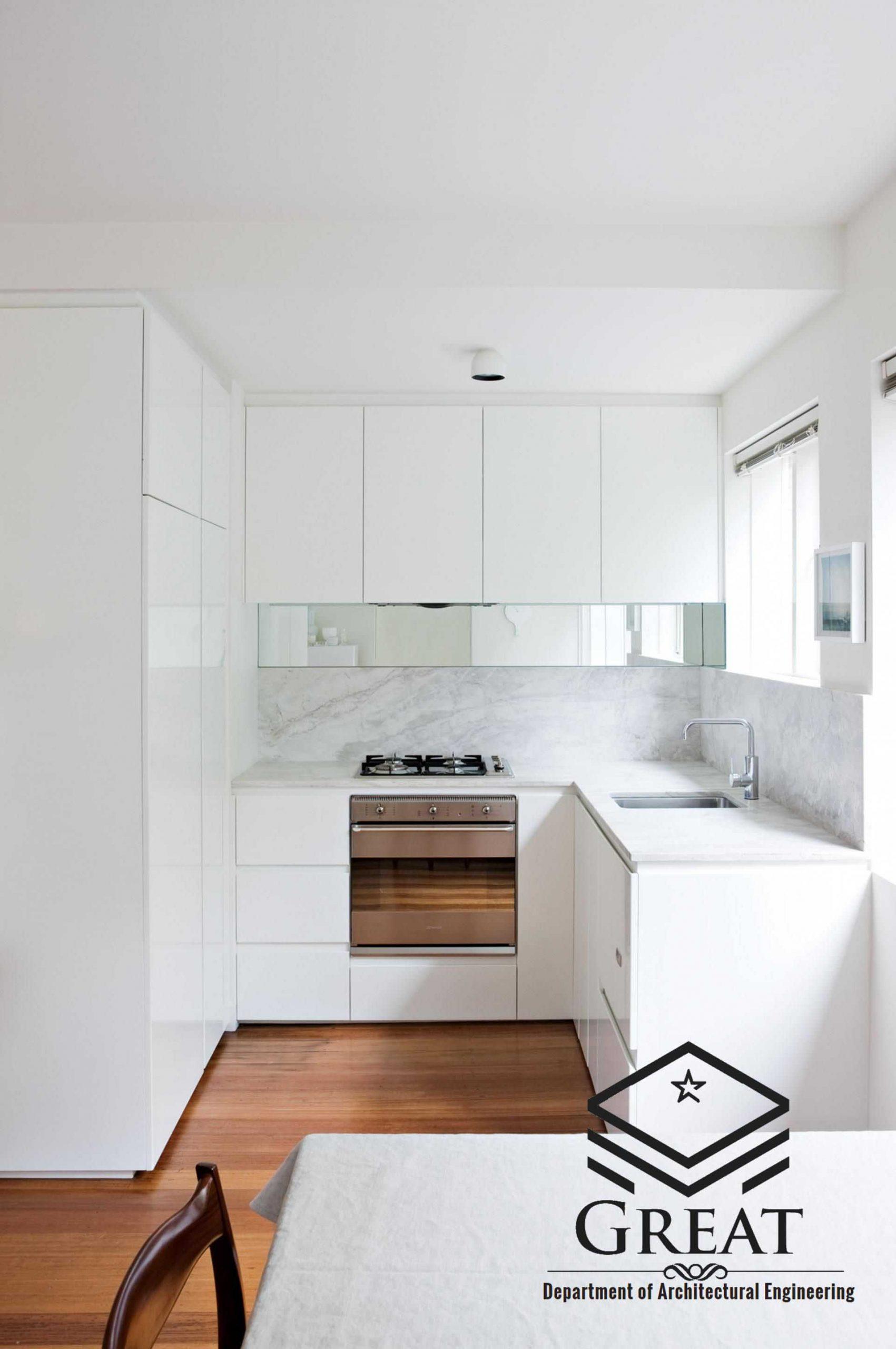 کابینت سفید برای آشپزخانه های کوچک تصویر دوم