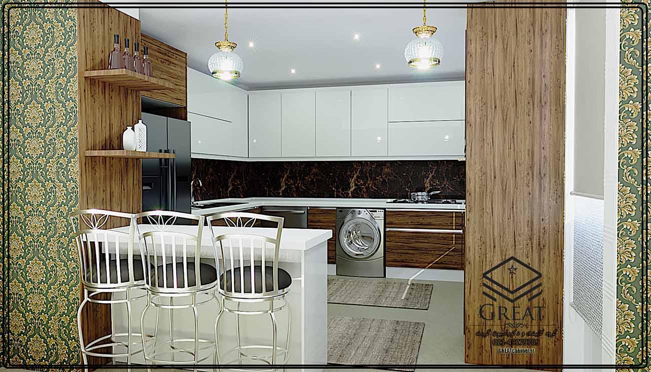 طرح اول کابینت آشپزخانه هایگلاس ترکیبی (هایگلاس براق و ام دی اف مات) نمای شماره 1
