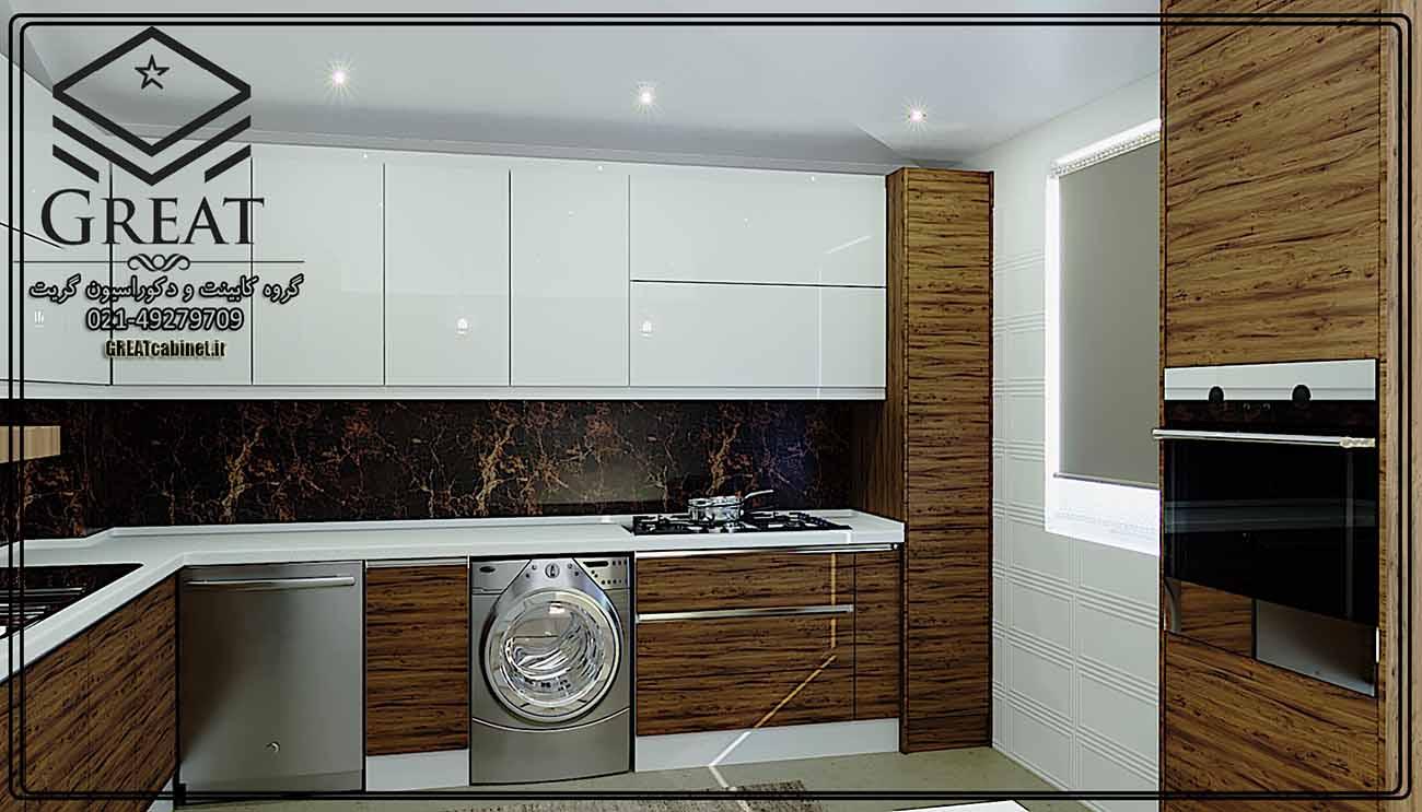 طرح اول کابینت آشپزخانه هایگلاس ترکیبی (هایگلاس براق و ام دی اف مات) نمای شماره 3