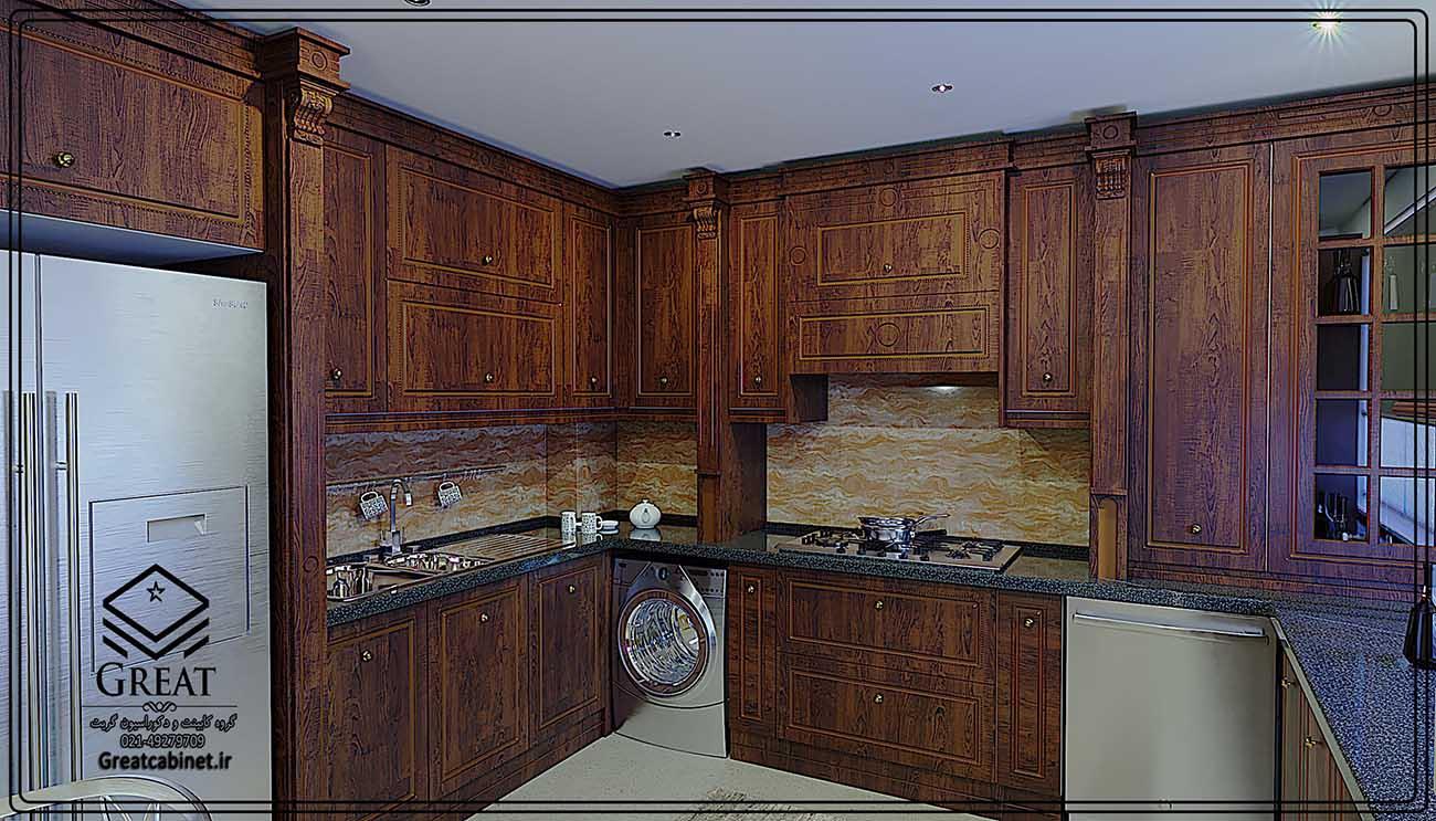 طرح سوم کابینت آشپزخانه ممبران : با روکش وکیوم رنگ قهوه ای سوخته