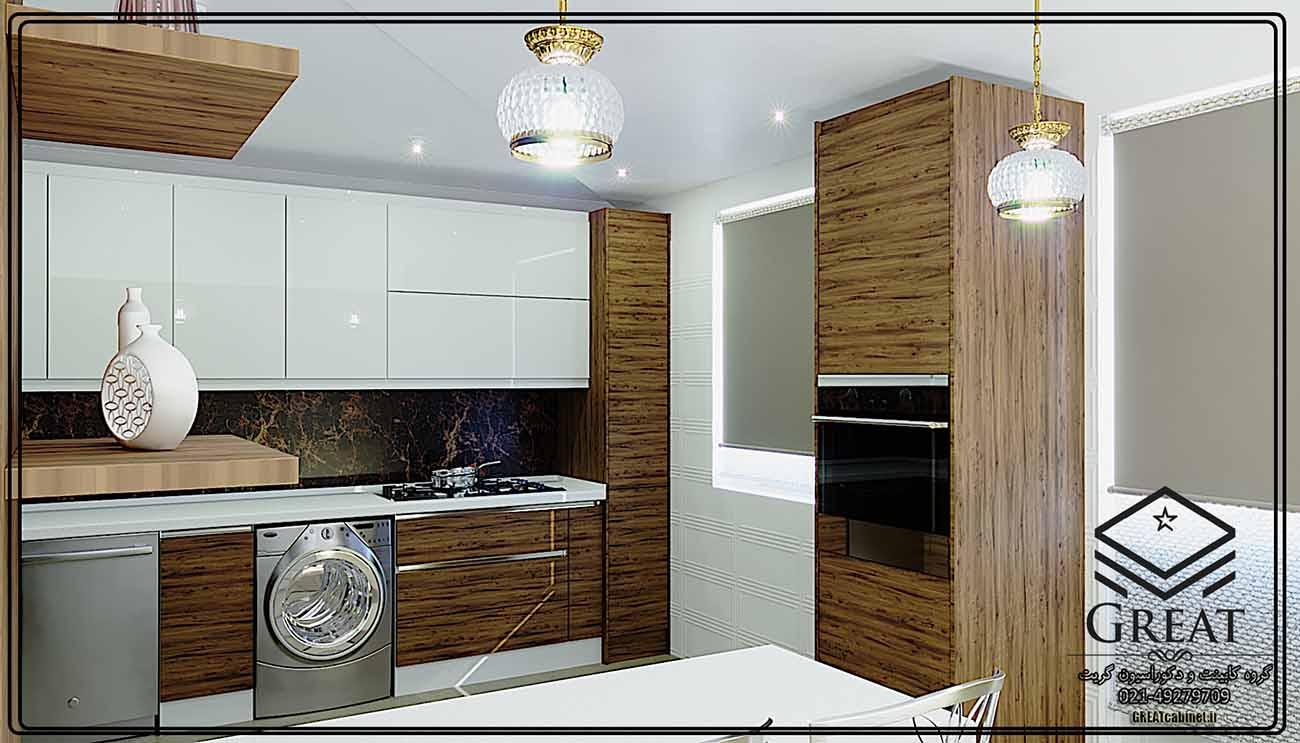 طرح اول کابینت آشپزخانه هایگلاس ترکیبی (هایگلاس براق و ام دی اف مات) نمای شماره 2