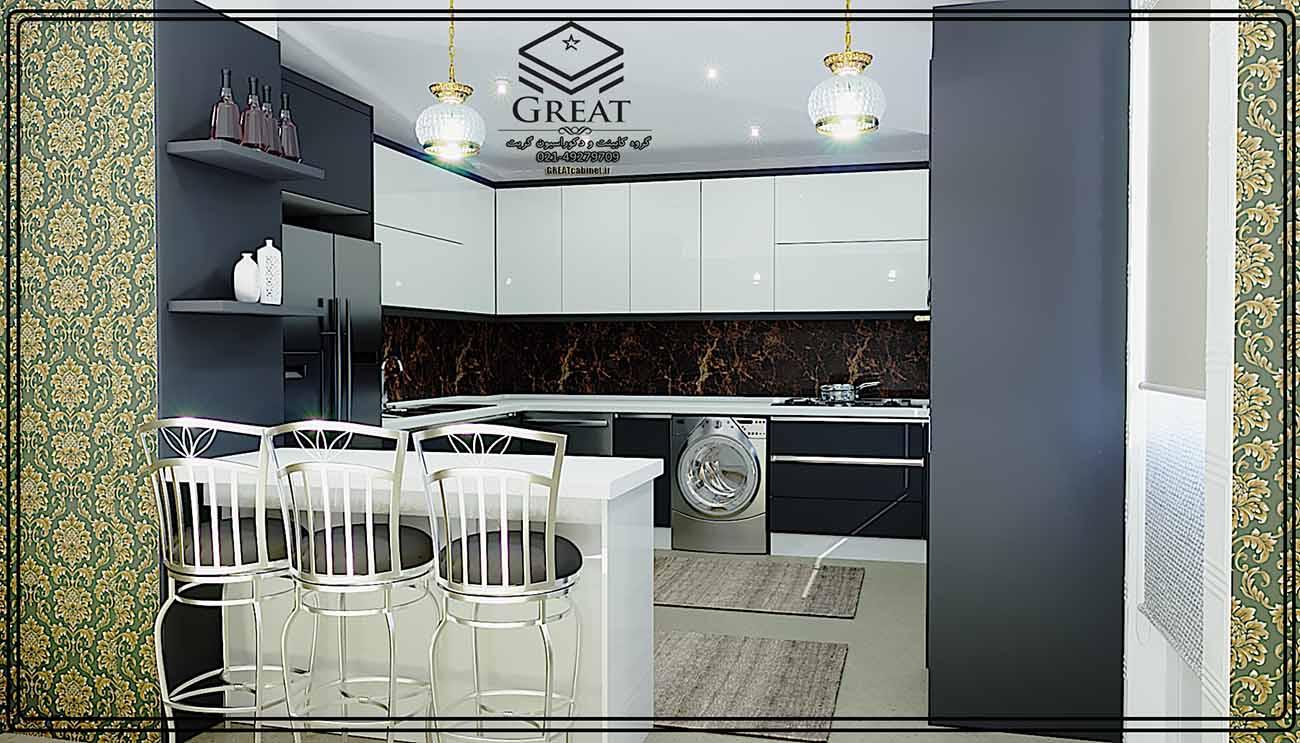 طرح اول کابینت آشپزخانه هایگلاس ترکیبی (هایگلاس براق و ام دی اف مات) رنگ مشکی