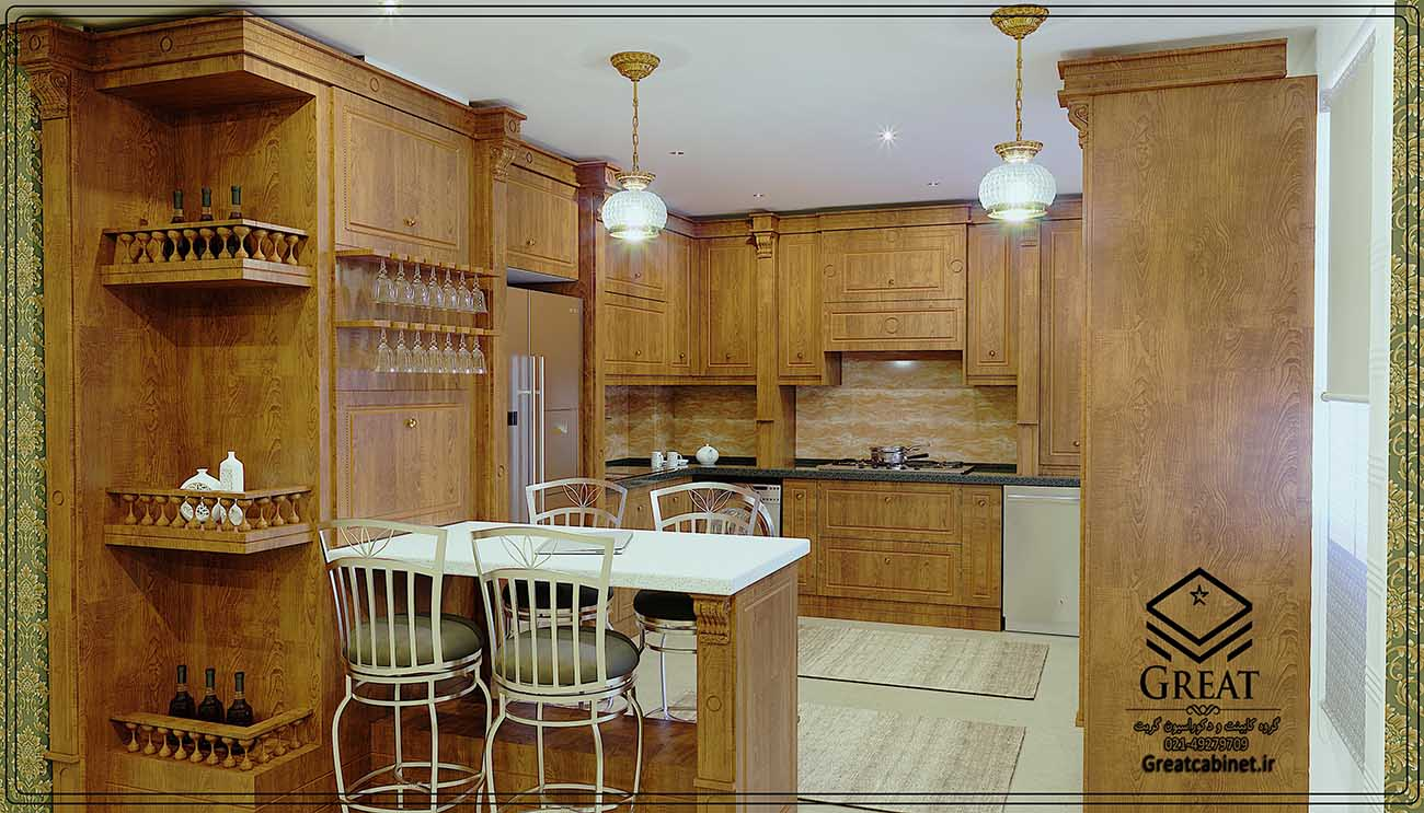 طرح سوم کابینت آشپزخانه ممبران : با روکش وکیوم رنگ طرح چوب