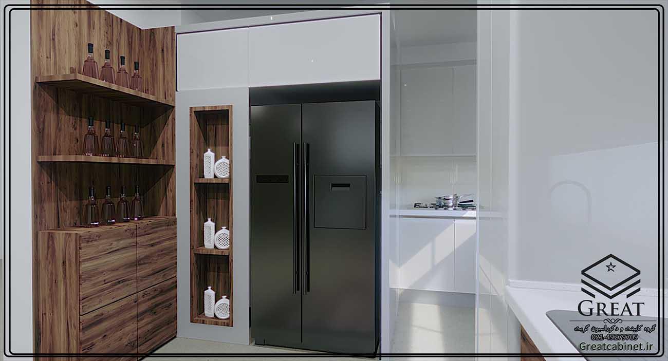 کابینت ام دی اف مات و هایگلاس سفید ترکیبی - تصویر شماره 3