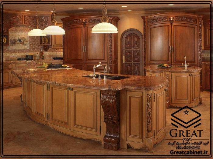 کابینت آشپزخانه چوبی کلاسیک