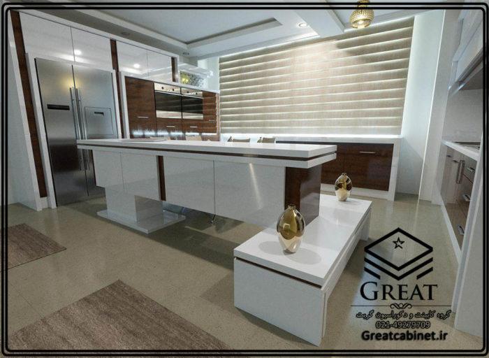 کابینت آشپزخانه با سبک مدرن به همراه جزیره