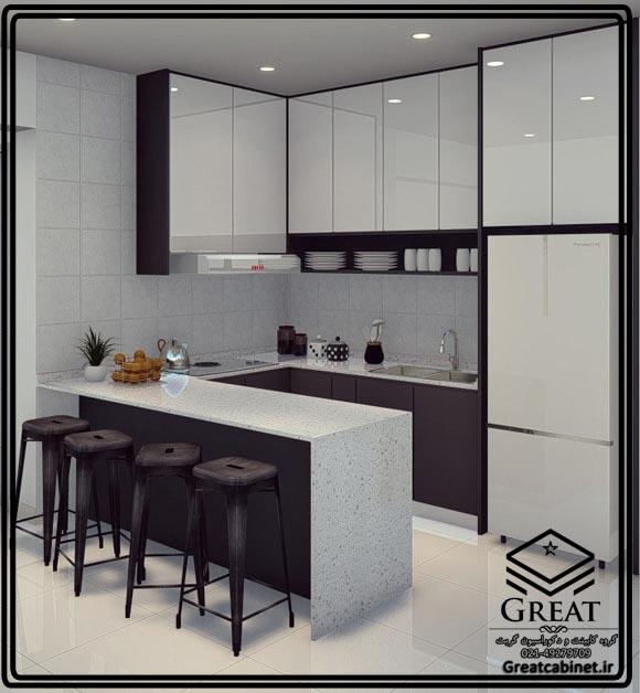کابینت آشپزخانه هایگلاس سفید بنفش