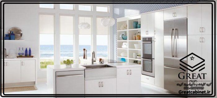 کابینت آشپرخانه هایگلاس سفید مدرن