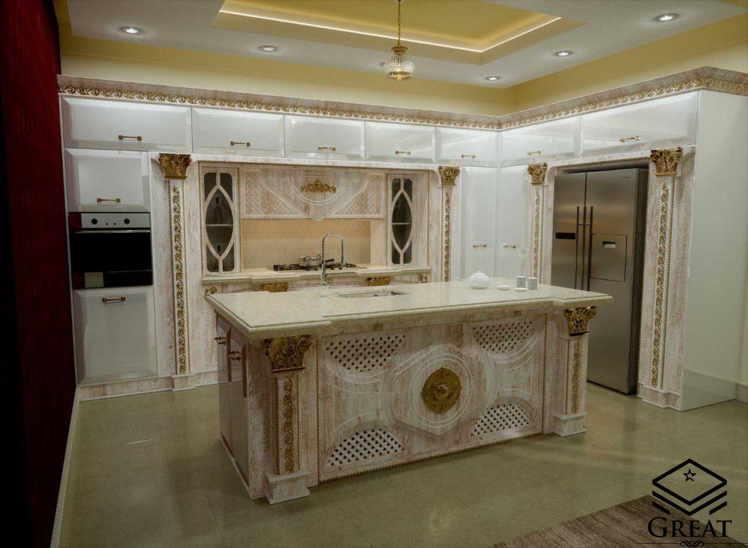 کابینت آشپزخانه خاص جواهر سفید با رنگ رگه ای قهوه ای