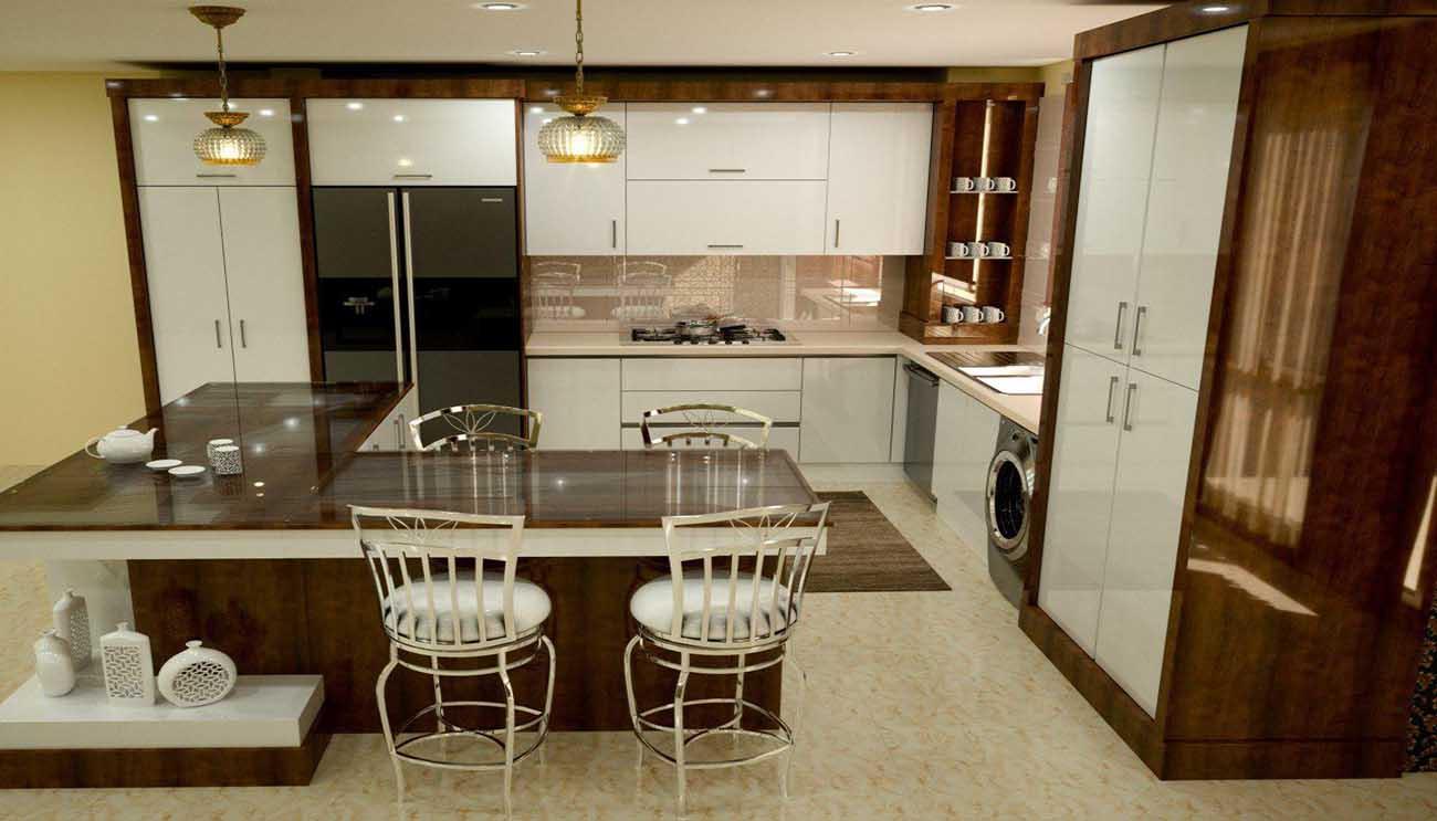 کابینت آشپزخانه های گلاس سفید و قهوه ای