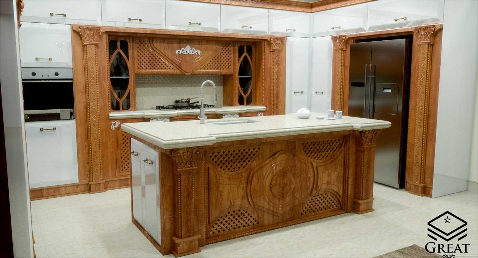کابینت آشپزخانه خاص جواهر سفید انزو و قهوه ای روکش چوب