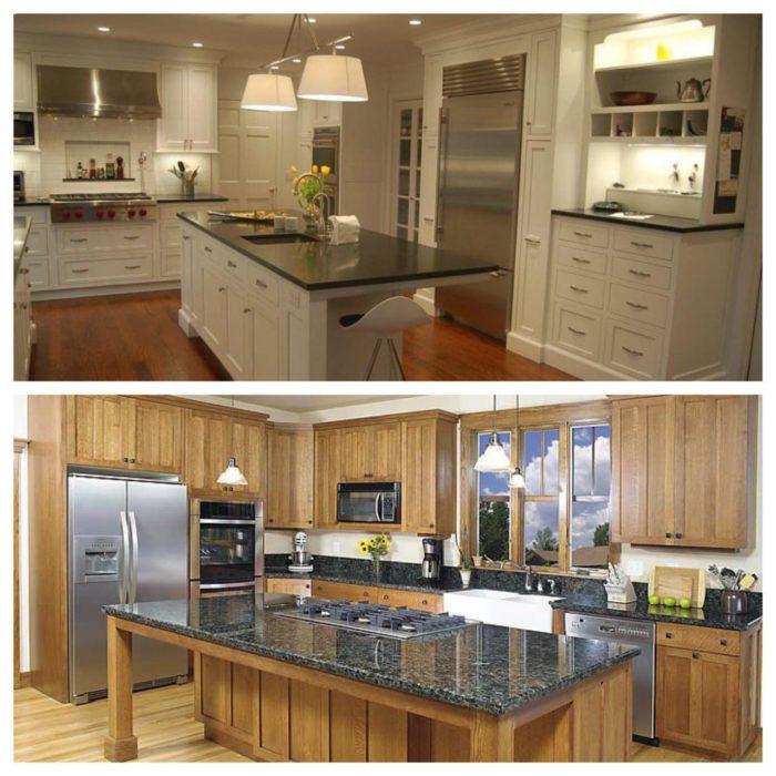 کابینت آشپزخانه روکش چوب با رنگ پلی استر سفید در تصویر بالا و خود رنگ در تصویر پایین