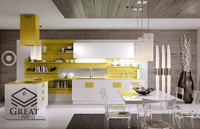 کابینت آشپزخانه زرد