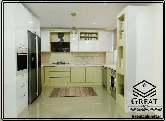 کابینت آشپزخانه دو رنگ یا ترکیبی تصویر اول