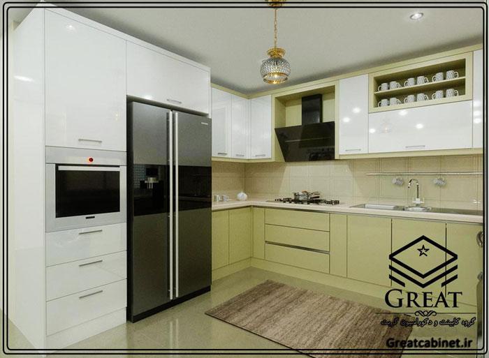 کابینت آشپزخانه دو رنگ یا ترکیبی تصویر دوم