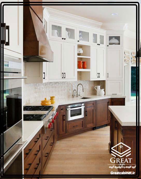 کابینت آشپزخانه دو رنگ یا ترکیبی تصویر چهارم
