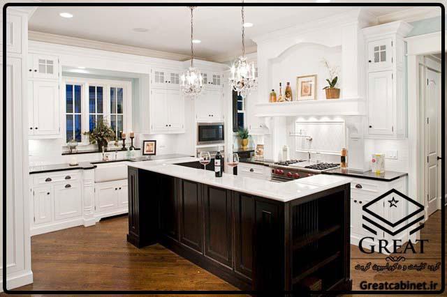 کابینت آشپزخانه دو رنگ یا ترکیبی تصویر ششم