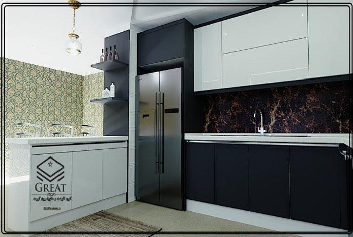 کابینت آشپزخانه دو رنگ یا ترکیبی تصویر هشتم