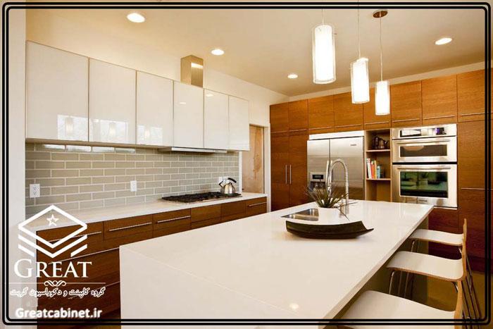 کابینت آشپزخانه دو رنگ یا ترکیبی تصویر نهم