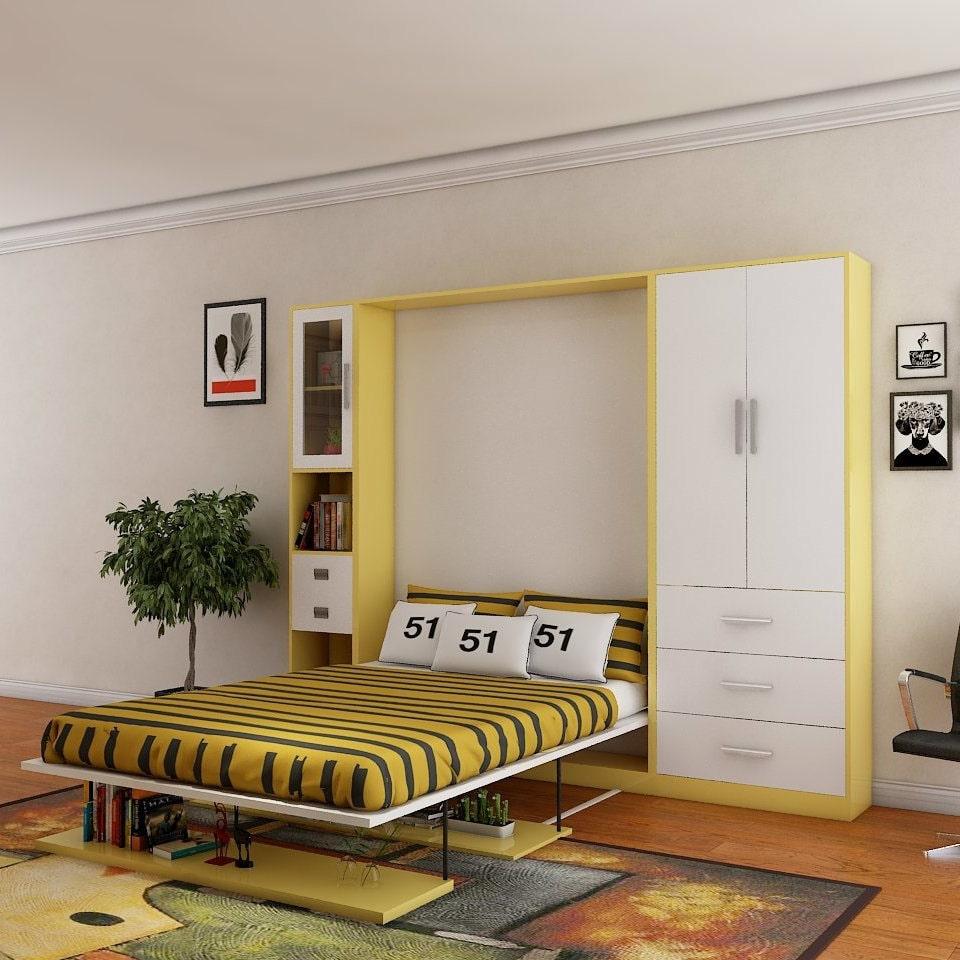 تخت کم جا در دکوراسیون زرد