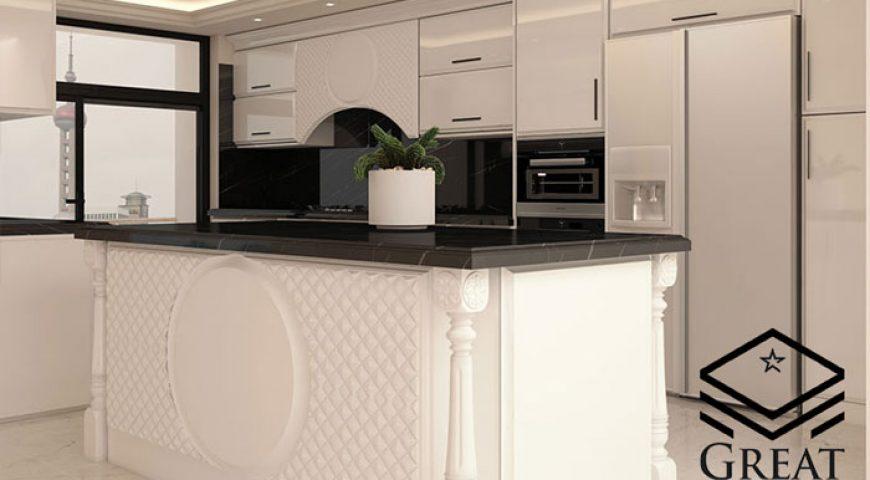 طراحی آشپزخانه نئوکلاسیک با کابینت هایگلاس