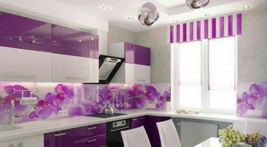 طراحی دکوراسیون آشپزخانه با رنگ بنفش