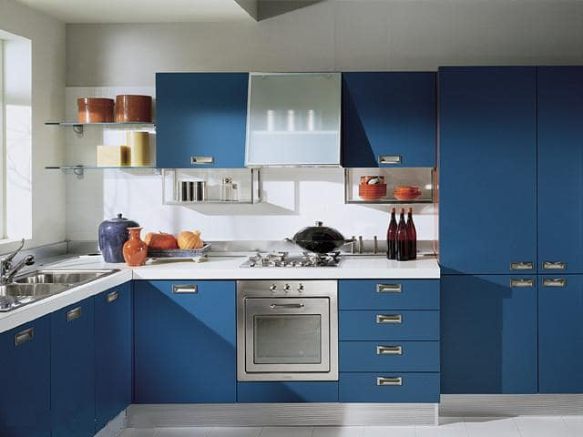 دکوراسیون آشپزخانه رنگ آبی ۱