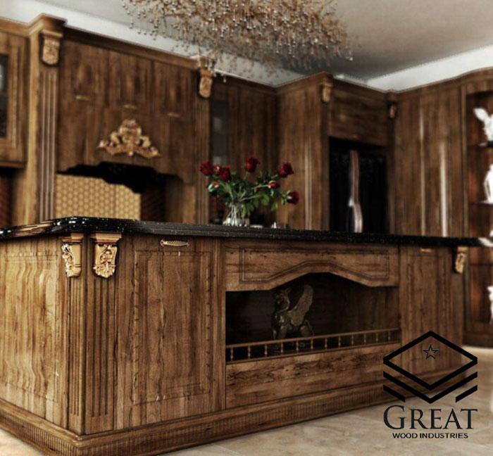 کابینت آشپزخانه ممبران قهوه ای ساده