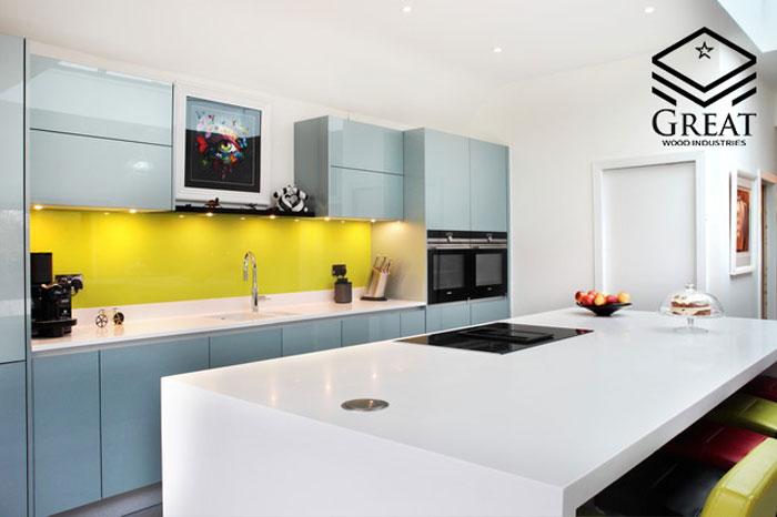 رنگ بندی کابینت آشپزخانه هایگلاس