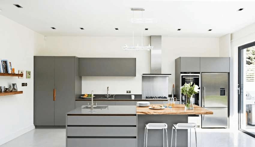دکوراسیون داخلی آشپزخانه با رنگ طوسی