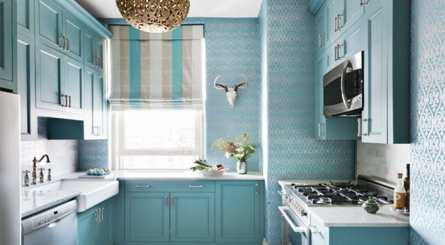 دکوراسیون آشپزخانه آبی روشن ۳