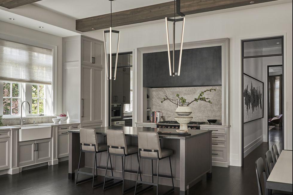 دکوراسیون آشپزخانه رنگ خاستری ۲