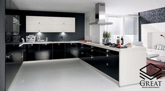 کابینت سفید مشکی برای آشپزخانه مدرن