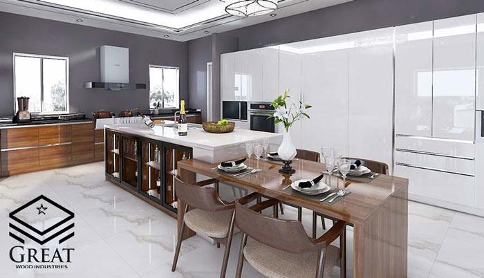 کابینت هایگلاس آشپزخانه سفید اکلیلی – قسمت اول
