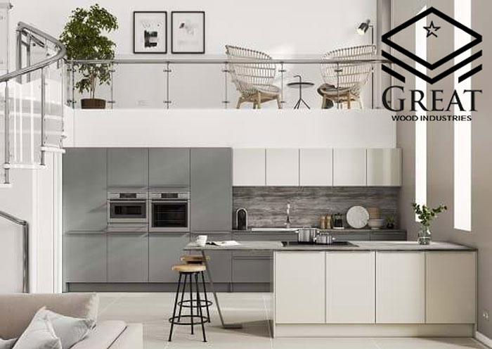 کابینت آشپزخانه سفید طوسی