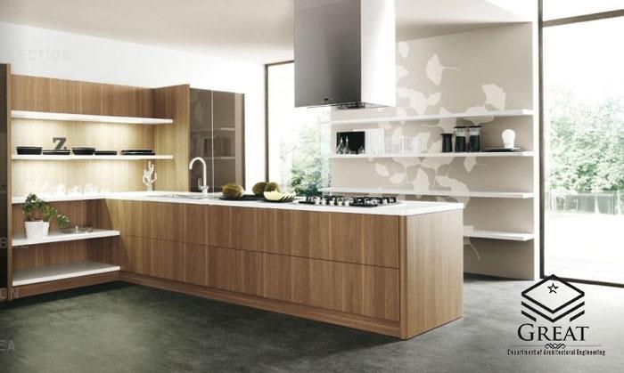 چوب در آشپزخانه های مدرن - تصویر یک