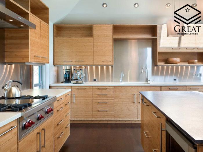 کابینت آشپزخانه روکش چوبی